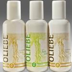 basische Haarpflege-Produkte von Oliebe, hier 3 unterschiedliche Flaschen Bodylotion
