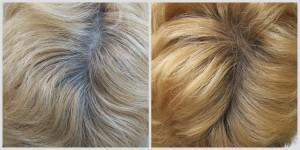 vorher-nachher-Bild einer Haar-Blondierung von grauen Haaren mit Pflanzenhaarfarbe von Oliebe