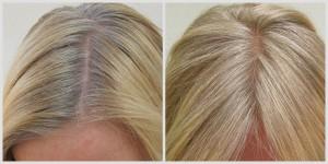 Blondiierung von Haaransätzen mit Oliebe-Pflanzenfarbe, vorher-nachher-Foto