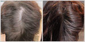 Vorher-nacher-Foto einer Haarkräftigung von dünnen Haaren nach Behandlung mit Pflanzenhaarfarbe von Oliebe